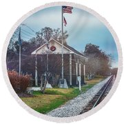 Train Tracks To Old Town Round Beach Towel