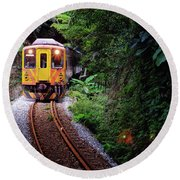 Train With Tunnel Of Pingxi Line, Taiwan Round Beach Towel