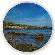 Tranquil Blues Day Kennebunkport Round Beach Towel