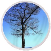 Tree And Great Lake Round Beach Towel