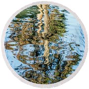 Tree Reflection Abstract Round Beach Towel by Kate Brown