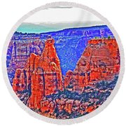 Trees Plateau Valley Color 2871ado National Monument  Round Beach Towel