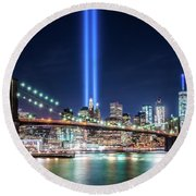 Tribute In Light From Brooklyn 1 Round Beach Towel