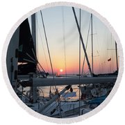 Trieste Sunset Round Beach Towel by Helga Novelli