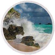 Tropical Beach Splash Round Beach Towel