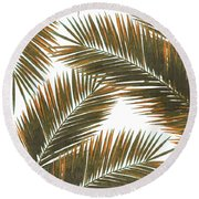 Tropical Palm Leaf Pattern 6 - Tropical Wall Art - Summer Vibes - Modern, Minimal - Brown, Copper Round Beach Towel