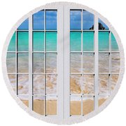 Tropical Paradise Beach Day Windows Round Beach Towel