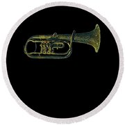 Trumpet Music Instrument Gift For Musician Color Designed Round Beach Towel