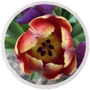 Tulip Beauty Round Beach Towel by Marian Palucci-Lonzetta