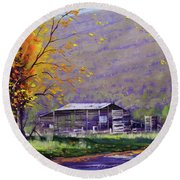 Tumut Valley Farm Shed Round Beach Towel