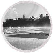 Tuna Punta Lighthouse Black And White Round Beach Towel