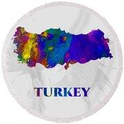 Turkey, Map, Artist Singh Round Beach Towel