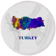 Turkey, Map, Artist Singh Round Beach Towel