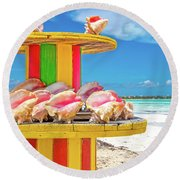 Turks And Caicos Conchs On A Spool Round Beach Towel