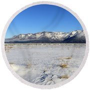 Turnagain Arm And Chugach Range From Hope Alaska Round Beach Towel