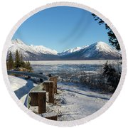 Turnagain Arm And Chugach Range From Sunrise Alaska Round Beach Towel