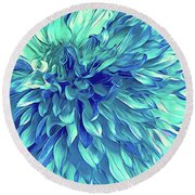 Turquoise Love  Round Beach Towel