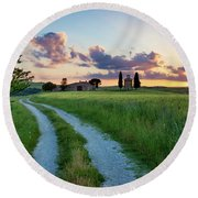 Tuscan Sunset Round Beach Towel