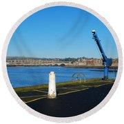 Tweed Estuary To Berwick-upon-tweed Medieval City Walls,bridges  Round Beach Towel