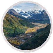 Twentymile Glacier Round Beach Towel by Tim Newton