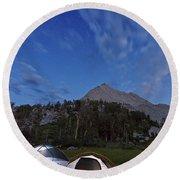 Twilight Camping Round Beach Towel
