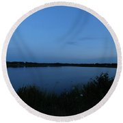 Twilight On The Lake Round Beach Towel