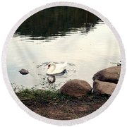 Twilight Swan Round Beach Towel