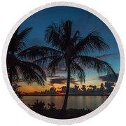 Twin Palms Sunrise Round Beach Towel by Tom Claud