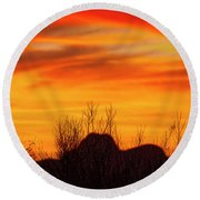 Twin Peaks Silhouette H1840 Round Beach Towel by Mark Myhaver