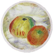 Two Apples, 1875 Round Beach Towel