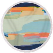 Two Beige Dogs Round Beach Towel