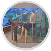 Two Boats In The Night Round Beach Towel