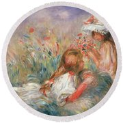 Two Children Seated Among Flowers, 1900 Round Beach Towel