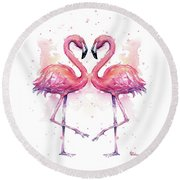 Two Flamingos In Love Watercolor Round Beach Towel