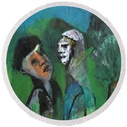 Two Men In A Field Round Beach Towel