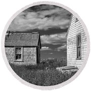 Two Sheds In Blue Rocks #2 Round Beach Towel