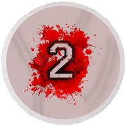 Twoo Over Red Stain Round Beach Towel
