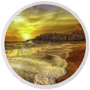 Twr Mawr Lighthouse Sunset Round Beach Towel by Adrian Evans