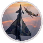 Typhoon And Spitfire Synchro-pair Display Team Round Beach Towel
