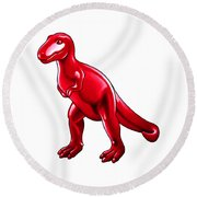 Tyrannosaurus Cartoon Round Beach Towel