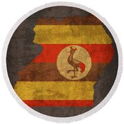 Uganda Country Flag Map Round Beach Towel