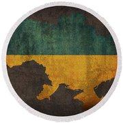Ukraine Country Flag Map Round Beach Towel