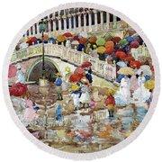 Umbrellas In The Rain - Digital Remastered Edition Round Beach Towel