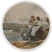 Under The Cliff, Cullercoats , 1881 Round Beach Towel