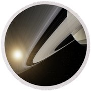 Under The Rings Of Saturn Round Beach Towel