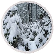 Under The Snow Round Beach Towel