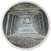 Under The Tybee Island Pier Round Beach Towel by Judy Hall-Folde