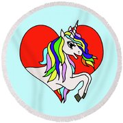 Unicorn In The Heart On Baby Blue Kids Room Decor Round Beach Towel