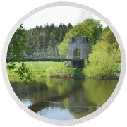 Union Chain Bridge At Horncliffe On River Tweed Round Beach Towel