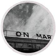 Union Market The Original Sign Washington Dc Round Beach Towel by Edward Fielding